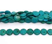 Dyed Howlite Coin turquiose 16mm strand 23 beads-beads incl pearls-Beadthemup