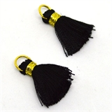 Tassel 25mm Black incl Ring 2 pack-tassels-Beadthemup
