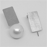 Sterling Silver MATT Stud Earring with pin 11x20mm PAIR-findings-Beadthemup