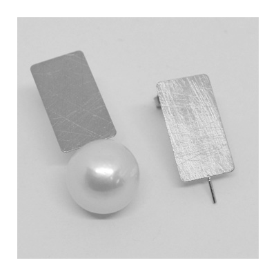 Sterling Silver MATT Stud Earring with pin 11x20mm PAIR