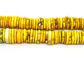 Howlite Disk dyed Yellow 14mm strand 48 beads-beads incl pearls-Beadthemup