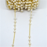 Vermeil 5mm F.W.Pearl & Chain 30mm handmade chain per meter -beads incl pearls-Beadthemup