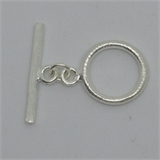 Sterling Silver Toggle brushed 17mm ring 1 pack-findings-Beadthemup