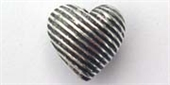 Sterling Silver Bead Heart 8mm Diagonal stripe-heart, flower, animal and star-Beadthemup