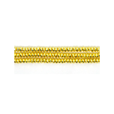 Hematite Gold Fac.Rondel 4x2mm approx 175 beads