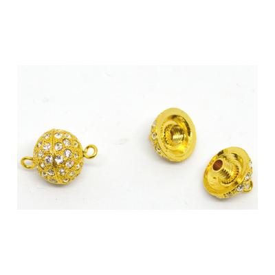 Plated Brass Gold CZ clasp SCREW 14mm EACH