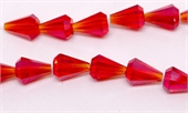 Chinese Crystal Teardrop 9x13mm Red AB 10 pack-beads incl pearls-Beadthemup