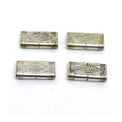 Base Metal Rectangle Bead 25mm 4 pack