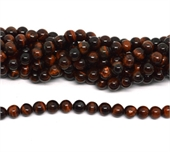 red tiger eye AB+ polished round 8mm strand 48 beads-beads incl pearls-Beadthemup