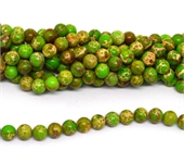 Imperial Jasper green dyed polished round 10mm strand 39 beads-beads incl pearls-Beadthemup