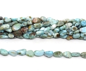 Larimar polished nugget 6x8mm strand approx 47 beads-beads incl pearls-Beadthemup