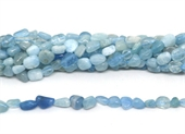Aquamarine polished nugget 6x8mm strand approx 50 beads-beads incl pearls-Beadthemup