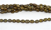 Fresh Water Pearl 12mm Rice Ridged Brown beads per strand 29-beads incl pearls-Beadthemup