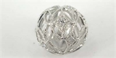 Sterling Silver Bead Round CZ 14mm Filigree-beads and spacers-Beadthemup