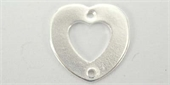 Sterling Silver Connecter Heart Flat 12mm 2 hole 2 pack-heart, flower, animal and star-Beadthemup