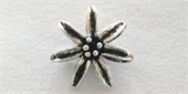Sterling Silver Bead Flower 13mm 7 Petal 2 pack-heart, flower, animal and star-Beadthemup
