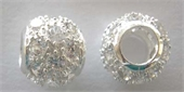 Sterling Silver Bead Round CZ 10mm 4.7mm hole-beads and spacers-Beadthemup