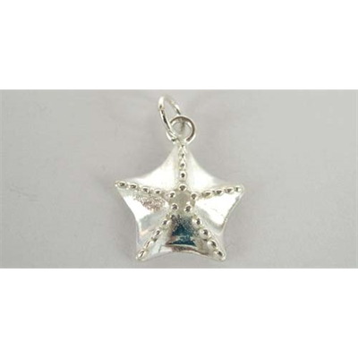 Sterling Silver Pendant Starfish 15mm WO/Ring