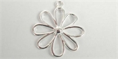 Sterling Silver Pendant Flower/Daisy 25mm-pendants and charms-Beadthemup