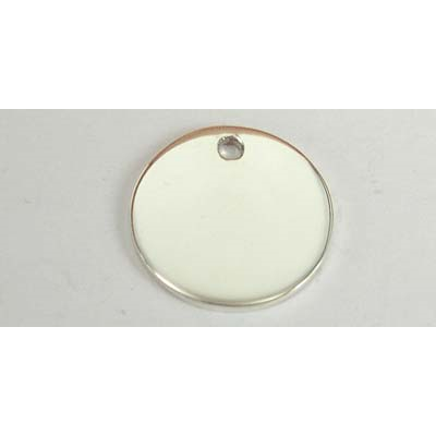 Sterling Silver Pendant Round 20mm high polish dis