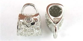 Sterling Silver Bead Handbag CZ 12x9mm Rh plte-pendants and charms-Beadthemup