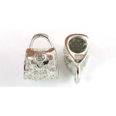 Sterling Silver Bead Handbag CZ 12x9mm Rh plte
