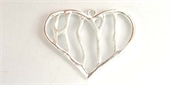 Sterling Silver Pendant Heart 30x23mm 2 pack-pendants and charms-Beadthemup