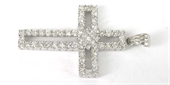 Sterling Silver Pendant Cross CZ 42.5x23mm-pendants and charms-Beadthemup