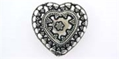 Sterling Silver Bead Heart 23.5x24mm 3 hole 1 pack-heart, flower, animal and star-Beadthemup