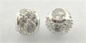 Sterling Silver Bead Round CZ 6mm set 1.8mm hol-beads and spacers-Beadthemup
