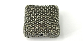 Sterling Silver Marcasite bead Flat square 16mm-marcastite-Beadthemup