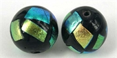 Dichroic 20mm glass bead BLACK-beads incl pearls-Beadthemup