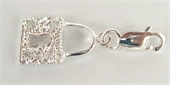 Sterling Silver Charm CZ Padlock-pendants and charms-Beadthemup