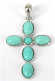 Sterling Silver Pendant Torquoise Cross 19x25mm-pendants and charms-Beadthemup