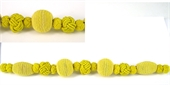Waxed Cord beads strand 17 beads Yellow-woven beads-Beadthemup