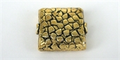 Gold Plate Copper 14x17mm Bead Flat Square 4-gold plate copper-Beadthemup