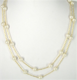 16ct Gold plt Chain w/Pearl 1m no clasp-silver, rhodium and gold plate-Beadthemup