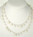 Sterling Silver plt Chain w/Pearl 1m no clasp-silver, rhodium and gold plate-Beadthemup