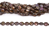 Fresh Water Pearl Coin 11mm Brown 33/strand-beads incl pearls-Beadthemup