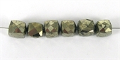Pyrite 6mm Faceted Cube beads-pyrite-Beadthemup