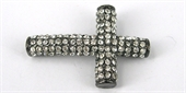 Base Metal W/Crystal Cross Black/Hem 40x-findings-Beadthemup