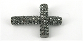 Base Metal W/Crystal Cross Black/Black 40x-findings-Beadthemup