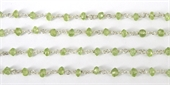Sterling Silver + Peridot handmade Chain per M-chain and wire-Beadthemup