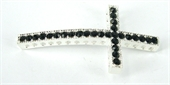 Base Metal W/Crystal Cross Silver/Black-findings-Beadthemup