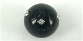 Black Glass W/Crystal 14mm EACH bead-glass beads-Beadthemup