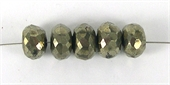 Pyrite 7.5x5mm Faceted rondel bead-pyrite-Beadthemup