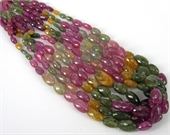 Sapphire Natural multi colour Faceted Grad oval/-gemstone beads-Beadthemup