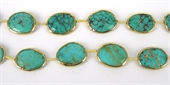 Vermeil & Turquoise 18x14mm oval bead-beads and spacers-Beadthemup