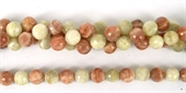 Moonstone+Sunstone Faceted Round 10mm/39Beads-moonstone-Beadthemup