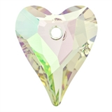 Swarovski 6240 27mm Crystal Lumius Green-heart pendants-Beadthemup